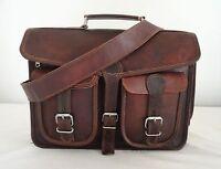 """Vintage Leather Briefcase Messenger Bag 17"""" Laptop Satchel Office Shoulder Bags"""