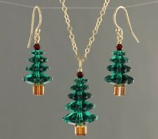 Emerald Green+ Red Crystal Christmas Tree Gold or Silver Necklace & Earring Set