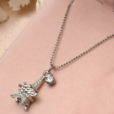 Fashion Women Girls Love Paris Eiffel Tower Zircon Necklace Charm Lovers Jewelry