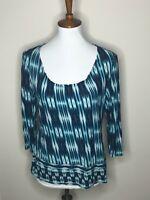 Chico's Size 1 Blue 3/4 Sleeve White Women's Top Shirt Tie Dye Geometric