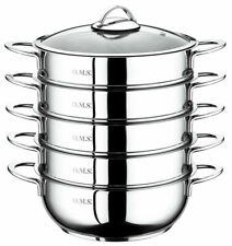 More details for oms 24cm 4 tier food casserole saute steamer set 18/10 stainless steel 6090 c