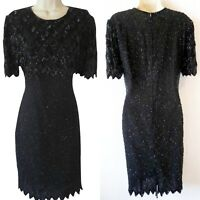Vintage Lawrence Kazar NY Black Dress Sequence Beaded Cocktail Formal Party Sz L