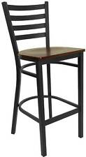 Lot Of 36 Black Ladder Back Metal Restaurant Bar Stools - Mahogany Wood Seat