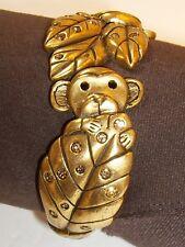 Chico's Koala Bear / Monkey Leaves Rhinestone Clamper Statement Bracelet Monkies