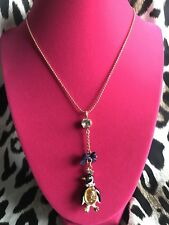Betsey Johnson Vintage Winter Jelly Belly Penguin Fish Crown Necklace RARE