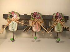 Mason Jar Flower Vase Wood Wall Decor Hook Triple Pastel Spring Easter