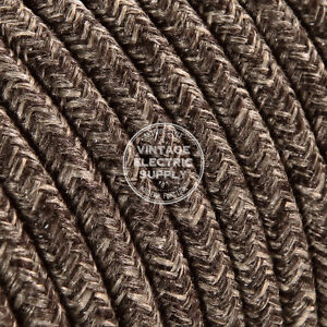 Brown Linen Round Cloth Covered Electrical Wire - Braided Linen Fabric Wire