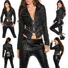 New Women Coat Black Biker Leather Long Sleeve Ladies Jacket Size 8 10 12 14 S M