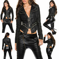 New Women Coat Black Biker Leather Long Sleeve Ladies Jacket Size 8 10 12 14 S M