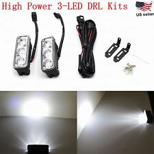 JDM ASTAR 2x Universal High Power 3-LED White DRL Daytime Running Light Lamp Kit