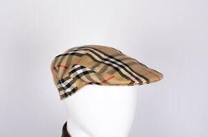 Burberry London Classic NovaCheck Tartan Cotton Flat Cap Size L
