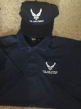 NEW U.S. Air Force EMBROIDERED Navy Polo Medium Shirt & Navy Hat (Airforce.com)