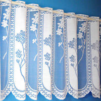 """Quality Floral Panel White Cafe Net Sold By The Metre. In 12"""", 18"""" & 24"""" Drop"""