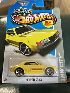 New for 2013 HOT WHEELS 1970 Toyota Celica Yellow Car Coupe HW City Silver Rims