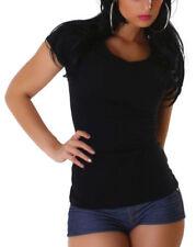 Vêtements T-shirt noir sans motif pour fille de 2 à 16 ans