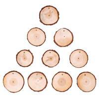 10x Weihnachten Holz Log Scheiben Discs Kreis Runde Für Hochzeit DIY Dekora SL#