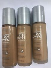 3 X Maybelline Instant Age Rewind Foundation SANDY BEIGE (MEDIUM-1)Silver c cap