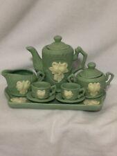 Decorative CHILD'S MINIATURE TEA SET, SEA GREEN PORCELAIN w/WHITE ROSE MOTIF