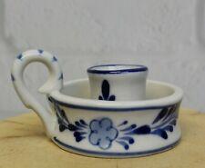 Vintage Delft Blue White Hand Painted Art Candle Holder Finger Loop Handle