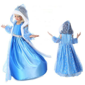 Robe Cape Déguisement Costume Bleu Reine Neiges Frozen Anna Fille Princesse Noel