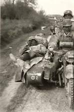 WW2  Photo WWII German Motorcycle Troops in Action Mauser  World War Two / 2419