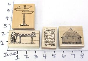 Wooden RUBBER STAMP Block Lot Rustic Barn Fence Mailbox Sign Travel