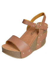 New Womens Slingback Wide Band Platform Wedge Sandals Brown Size 10