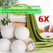 6X Reusable Organic Tumble Dryer Balls New Zealand Wool Natural Fabric Softeners