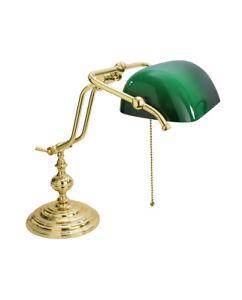 Lamp Desk Old England Banker American Brass Polished