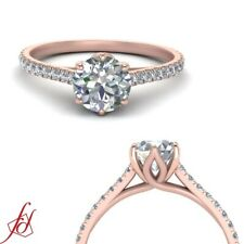 One Carat Round Cut Diamond Delicate Shank Rose Gold Cathedral Engagement Ring