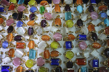 Newest Mix lots 15pcs Cat eye stone gold plated Multicolor Big Women rings L152