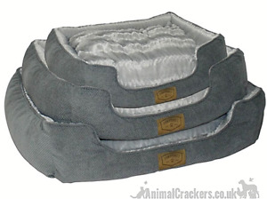 Grey thick warm fur fabric waterproof base Dog Pet bed by Paw Prints in 3 sizes