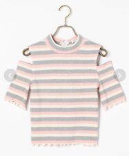 Liz Lisa Shoulderless Striped Cutout Top Pink Japan One Size