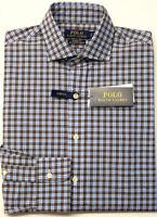 NEW $89 Polo Ralph Lauren Cotton Stretch Classic Fit LS Shirt Mens Brown Plaid