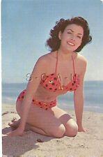 Original US 1950s Pinup PC- Semi Nude Woman- Sand- Polka Dot Bikini- Beach Girl