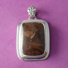 Beautiful 925 Silver Pendant With Pietersite 15.8 Gr.5 x 3 Cm.Wide In Gift Box