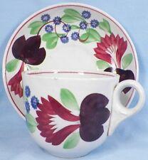 Antique Virginia Cut Sponge Cup & Saucer 1 Adams England Red Purple Blue Flowers