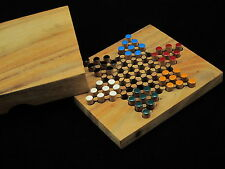 "Chinese Checkers 5.2""x 4.53"" wooden travel board game"