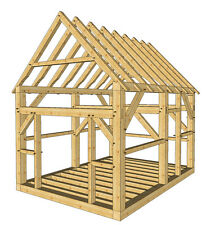 Timber Frame Shed Plans size 12' x 16' with two doors, plans on 8 1/2x11 new