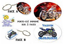 porte clé ovale polymère moto personnalisé réf 11