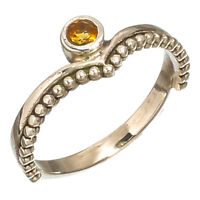 FACETED CITRINE NATURAL GEMSTONE 925 STERLING SILVER HANDMADE JEWELRY RING 7