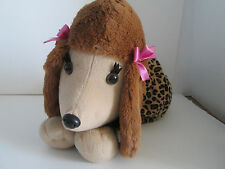 Poodle Shoulder Bag Purse Lepord Design Tan Plush Poochie and Company
