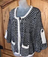 FENDI Cashmere Cotton Silk Black/White Heavy Knit Sweater Jacket Italy Made 42