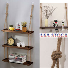 Rope Hanging Wall Shelf 3 Tier Floating Shelves Rustic Wood Mounted Decorative