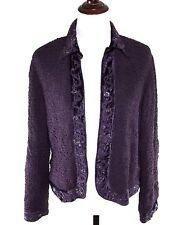 Chico's Blazer 1 Purple Textured Hand Beaded Velvet Trim Open Front Jacket M / 8