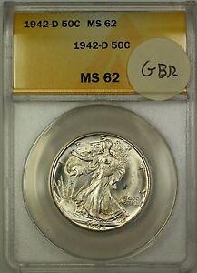 1942-D Walking Liberty Silver Half Dollar 50c Coin ANACS MS-62 GBR