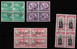KING GEORGE VIth VICTORY STAMPS. WESTERN SAMOA SG215-218. FINE USED BLOCKS OF 4.