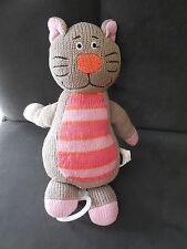 doudou peluche musical chat marron rayé rose orange tricot PT, 26cm