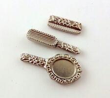DOLLS HOUSE miniatura 1:12 Accessorio per tavolo da toeletta Set SPECCHIO SPAZZOLA PETTINE ARGENTO