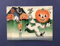 Vintage 1940s Halloween Party Invitation Card • Running JOL Men